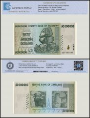 Zimbabwe 50 Million Dollar Banknote, 2008, P-79, UNC, TAP Authenticated
