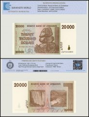 Zimbabwe 20,000 Dollar Banknote, 2008, P-73, UNC, TAP Authenticated