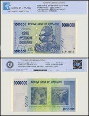 Zimbabwe 1 Million Dollar Banknote, 2008, P-77, UNC, TAP Authenticated