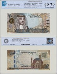 Bahrain 20 Dinars Banknote, 2006-2016, P-34, UNC, TAP 60-70 Authenticated