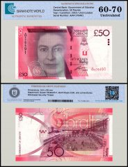 Gibraltar 50 Pounds Banknote, 2010, P-38, UNC, TAP Authenticated