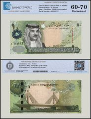 Bahrain 10 Dinars Banknote, 2008, P-28, UNC, TAP 60-70 Authenticated