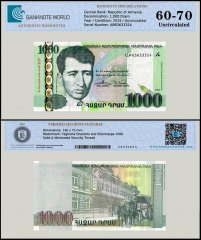 Armenia 1,000 Dram Banknote, 2015, P-59, UNC, TAP 60 - 70 Authenticated