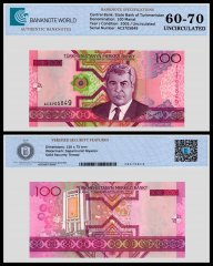 Turkmenistan 100 Manat Banknote, 2005, P-18a, UNC, TAP 60 - 70 Authenticated