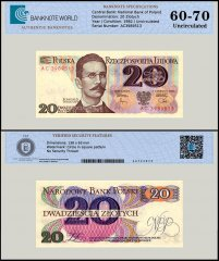Poland 20 Zlotych Banknote, 1982, P-149b, UNC, TAP 60 - 70 Authenticated