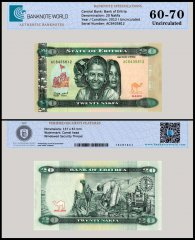 Eritrea 20 Nakfa Banknote, 2012, P-12, UNC, TAP 60 - 70 Authenticated