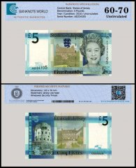 Jersey 5 Pounds Banknote, 2010, P-33, UNC, TAP 60-70 Authenticated