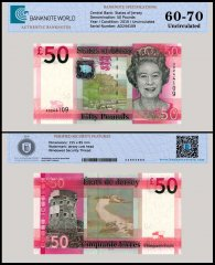 Jersey 50 Pounds Banknote, 2010, P-36, UNC, TAP 60-70 Authenticated
