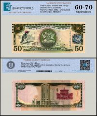 Trinidad & Tobago 50 Dollars Banknote, 2012, P-53, UNC, TAP 60-70 Authenticated