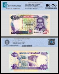 Zambia 100 Kwacha Banknote, 1991, P-34a, UNC, TAP 60 - 70 Authenticated