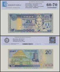 Fiji 20 Dollars Banknote, 2002, P-107a, Queen Elizabeth II, UNC, TAP Authenticated