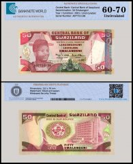 Swaziland 50 Emalangeni Banknote, 2001, P-31a, UNC, TAP 60 - 70 Authenticated