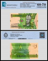 Turkmenistan 1 Manat Banknote, 2014, P-29b, UNC, TAP 60 - 70 Authenticated