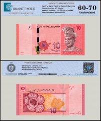 Malaysia 10 Ringgit Banknote, 2012, P-53a, UNC, TAP 60-70 Authenticated