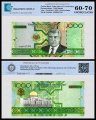 Turkmenistan 1,000 Manat Banknote, 2005, P-20a, UNC, TAP 60 - 70 Authenticated