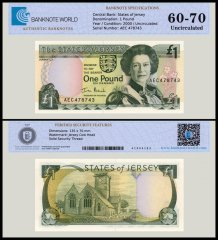 Jersey 1 Pound Banknote, 2000, P-26b, UNC, TAP Authenticated