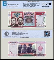 Burundi 10,000 Francs Banknote, 2013, P-49b, UNC, TAP 60-70 Authenticated
