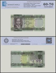 South Sudan 1 Pounds Banknote, 2011, P-5, UNC, TAP 60 - 70 Authenticated