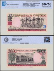 Rwanda 5,000 Francs Banknote, 1998, P-28a, UNC, TAP 60-70 Authenticated