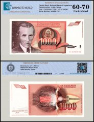 Yugoslavia 1,000 Dinara Banknote, 1990, P-107, UNC, TAP 60 - 70 Authenticated