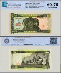 Eritrea 50 Nakfa Banknote, 2011, P-9, UNC, TAP 60 - 70 Authenticated