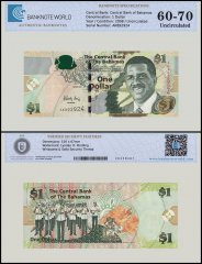 Bahamas 1 Dollar Banknote, 2008, P-71, UNC, TAP 60 - 70 Authenticated