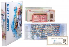 Banknote World Currency Collecting Album w/ 100 Pieces Banknote Set, Blue, Banknotes not Included in Sleeves