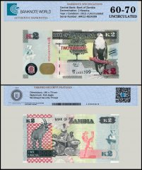 Zambia 2 Kwacha Banknote, 2015, P-56a, UNC, TAP 60 - 70 Authenticated