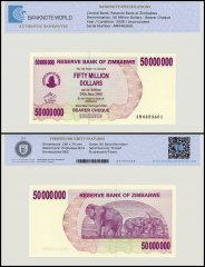 Zimbabwe 50 Million Dollars Bearer Cheque, 2008, P-57, UNC, TAP Authenticated