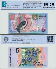 Suriname 5 Gulden Banknote, 2000, P-146a, UNC, TAP 60 - 70 Authenticated
