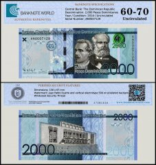 Dominican Repulic 2,000 Pesos Dominicanos Banknote, 2014, Serial # AN0007129, P-194, UNC, TAP 60 - 70 Authenticated