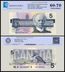 Canada 5 Dollars Banknote, 1986, P-95e, UNC, TAP Authenticated