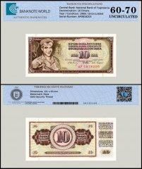 Yugoslavia 10 Dinara Banknote, 1968, P-82c, UNC, TAP 60 - 70 Authenticated