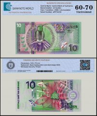 Suriname 10 Gulden Banknote, 2000, P-147, UNC, TAP 60 - 70 Authenticated