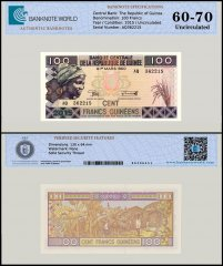 Guinea 100 Francs Banknote, 2015, P-A47, UNC, TAP 60 - 70 Authenticated