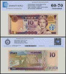 Fiji 10 Dollars Banknote, 2002, P-106a, UNC, TAP Authenticated