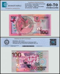 Suriname 100 Gulden Banknote, 2000, P-149, UNC, TAP 60-70 Authenticated