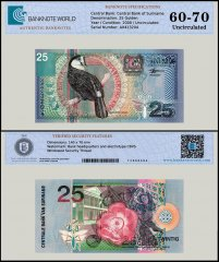 Suriname 25 Gulden Banknote, 2000, P-148, UNC, TAP 60 - 70 Authenticated