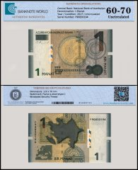Azerbaijan 1 Manat Banknote, 2017, P-31b, UNC, TAP 60 - 70 Authenticated