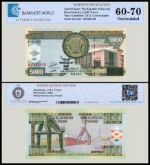 Burundi 5,000 Francs Banknote, 2011, P-48b, UNC, TAP 60-70 Authenticated
