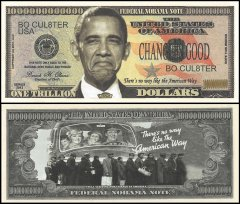 America National Debt Barack Obama Novelty / Fantasy 1 Trillion Dollar Bill, UNC