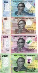 Angola 200 - 2,000 Kwanzas 4 Pieces Banknote Set, 2020, UNC