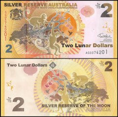 Australia 2 Lunar Dollar Novelty / Fantasy Banknote (Silver Reserve of the Moon), 2016, P-NEW, UNC