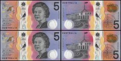Australia 5 Dollars 2 Piece Matching Serial # Set , 2016, P-62 UNC