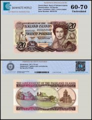 Falkland Islands 20 Pounds Banknote, 2011, P-20, Serial # B020150, UNC, TAP Authenticated