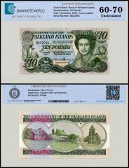Falkland Islands 10 Pounds Banknote, 2011, P-18, UNC, TAP Authenticated
