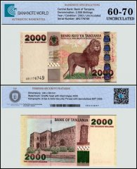 Tanzania 2,000 Shillings Banknote, 2003, P-37a, UNC, TAP 60-70 Authenticated