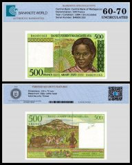 Madagascar 500 Francs Banknote, 1994, P-75b, UNC, TAP 60 - 70 Authenticated