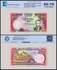 Samoa 100 Tala Banknote, 2006, P-37, Serial # B494558, UNC, TAP 60 - 70 Authenticated