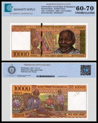 Madagascar 10,000 Francs Banknote, 1995, P-79b, UNC, TAP 60 - 70 Authenticated